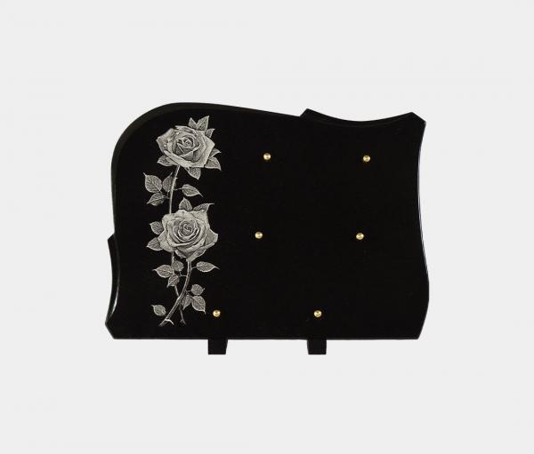 plaque funéraire moderne illustrée d'une gravure de roses