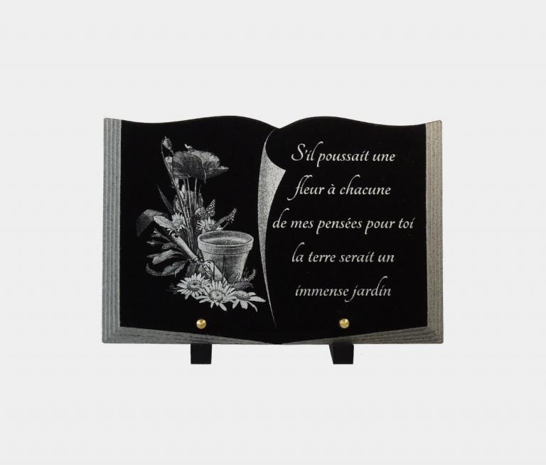 plaque funéraire moderne illustrée d'une gravure thème jardinage et poème