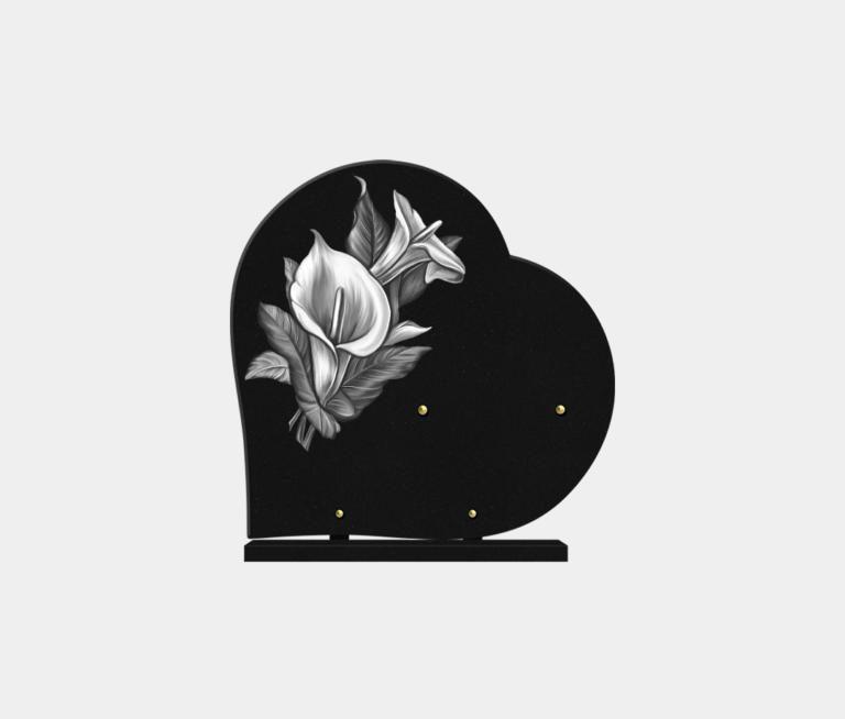 plaque funéraire moderne forme cœur illustrée d'une gravure d'arômes