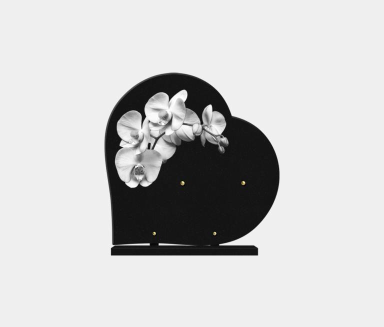 plaque funéraire moderne forme cœur illustrée d'une gravure d'orchidée