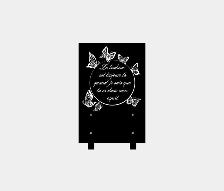 plaque funéraire moderne illustrée d'une gravure de papillons et poème